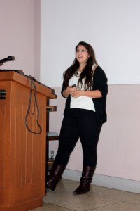 """Alyssa Sokol of Colgate presents her research entitled """"Gas Phase Silicon in the Interstellar Medium"""" done under the direction of Adam Jensen."""
