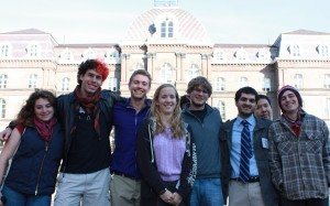 Some of the Wesleyan students attending the conference at Vassar.